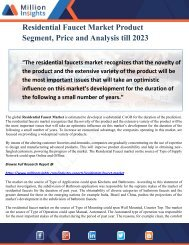 Residential Faucet Market Product Segment, Price and Analysis till 2023