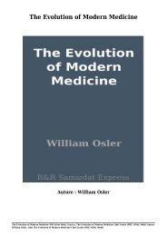 Scarica The Evolution of Modern Medicine Libri Gratis (PDF, ePub, Mobi) Di William Osler