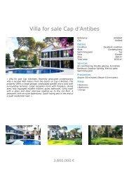 Villa For Sale In Cap d'Antibes