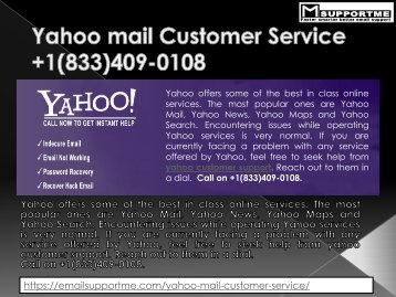 Yahoo Customer Support PHone Number  +1(833)409-0108  yahoo contact number