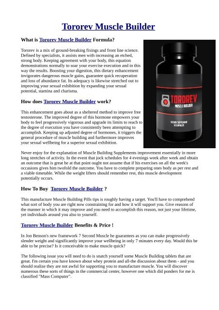Now Strange Facts About Tororev Muscle Builder
