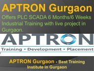 PLC SCADA 6 Months/6 Weeks Industrial Training - APTRON Gurgaon