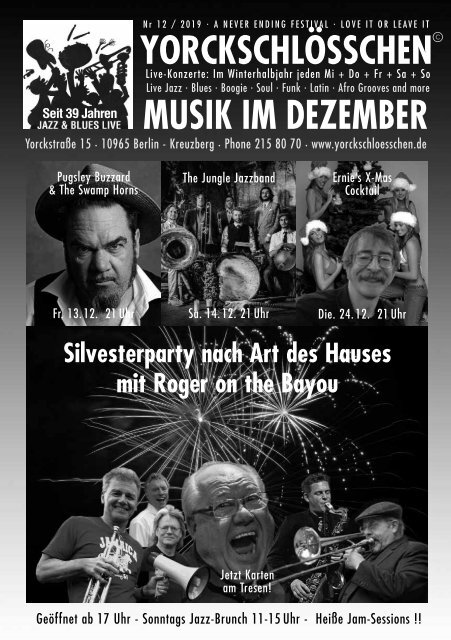 Livemusik-Programm Yorckschloss1912
