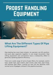 What Are The Different Types Of Pipe Lifting Equipment?