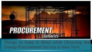 Things to Keep in Mind while Choosing the Energy Procurement Service in New York