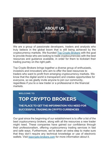 brokers to trade cryptocurrencies
