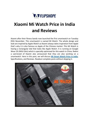Xiaomi Mi Watch Price in India and Reviews