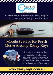 Take an Advantage of Mobile Services for Spare Car Keys | Krazy Keys