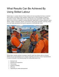 What Results Can Be Achieved By Using Skilled Labour