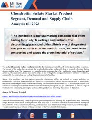 Chondroitin Sulfate Market Product Segment, Demand and Supply Chain Analysis till 2023