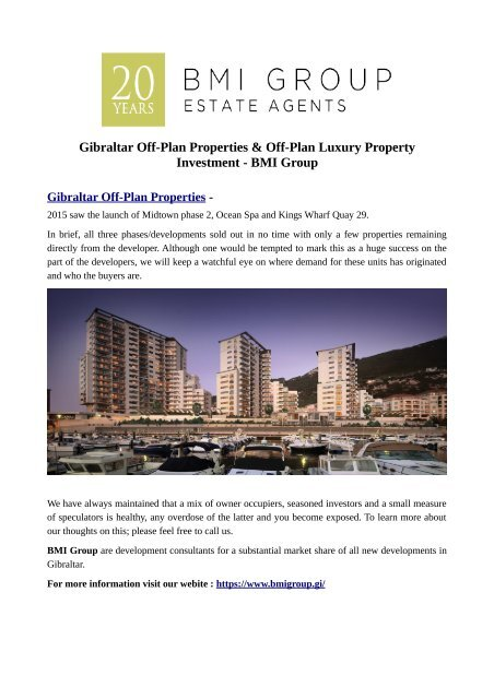 Gibraltar Off-Plan Properties & Off-Plan Luxury Property Investment - BMI Group