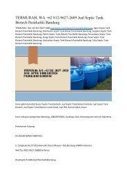 TERMURAH, WA +62 812-9627-2689 Jual Septic Tank Biotech Pasirkaliki Bandung