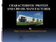 Characteristic Protein and CBD Oil manufacturer
