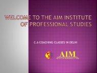 Best CA Coaching in Delhi | Fees & Faculties | Aim Institute
