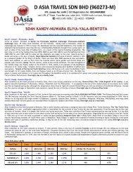 Sri Lanka Tour Packages- Kandy, Nuwara Eliya, Colombo,Yala, Bentota Exclusive- D Asia Travels