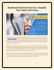 Residential Electrical Services -Simplify Your Safety And Living