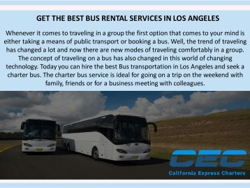 Charter Bus Rental Services Los Angeles
