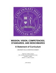Mission, Vision, Competencies, Standards, and Benchmarks