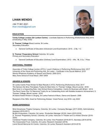 LIHAN MENDIS - Professional Resume