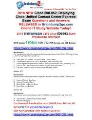 [2019-November-Version]Braindump2go 500-052 VCE and 500-052 PDF Dumps Free Share