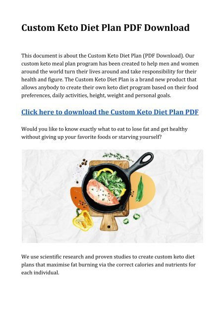 Plan Custom Keto Diet For Sale Used