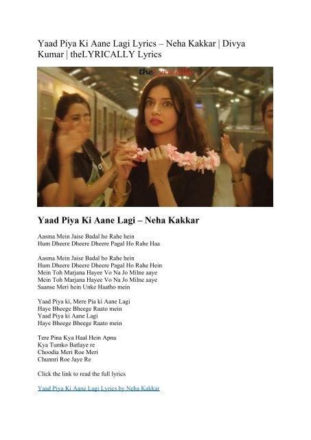 lyrics of yaad piya ki aane lagi