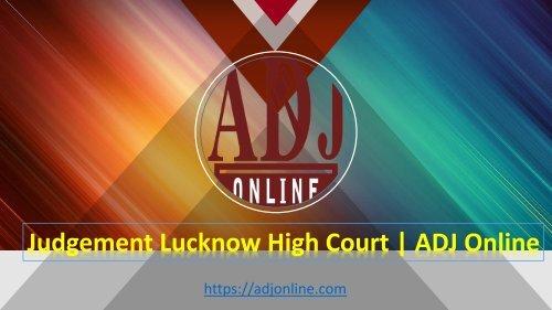 Judgement Lucknow High Court