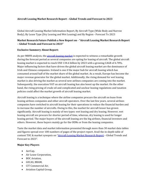Aircraft Leasing Market Research Report Information - Global Forecast to 2025