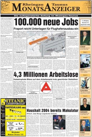 Ausgabe 18 (September 2003) - Rheingau-Taunus-Monatsanzeiger