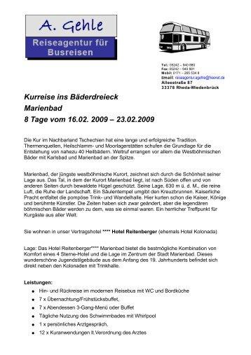 Kurreise ins Bäderdreieck Marienbad 8 Tage vom 16.02. 2009 ...
