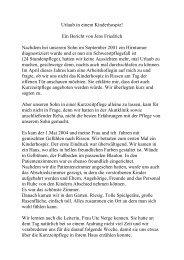 Ein Bericht Von Jens - Kinder-Hospiz Sternenbrücke