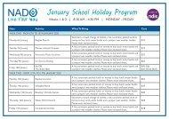 NADO January School Holiday Program 2020
