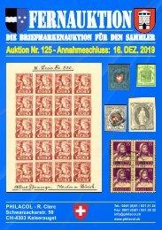 Philacol Philatelie Auktion vom 16. Dezember 2019