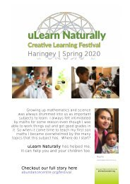 uLearn Naturally Creative Learning Festival - Haringey | Spring 2020 | Events Preview Booklet