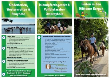 Reiten in den Hüttener Bergen - Naturpark Hüttener Berge