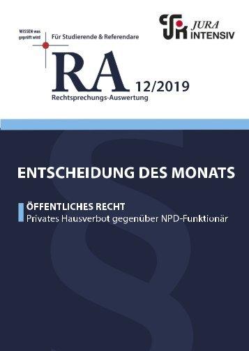 RA 12/2019 - Entscheidung des Monats
