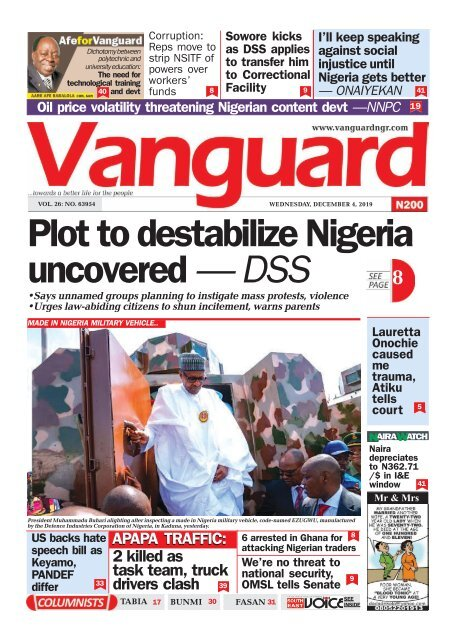 04122019 Plot To Destabilize Nigeria Uncovered Dss
