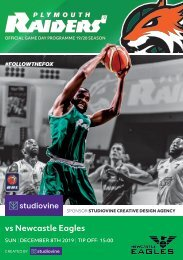 Plymouth Raiders vs. Newcastle Eagles - Programme 08-12-19