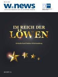 IM REICH DER LÖWEN - GRÜNDERLAND BADEN-WÜRTTEMBERG| w.news 12.2019