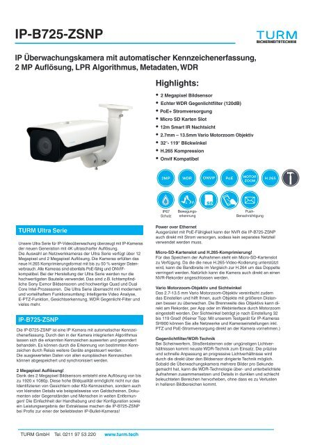 IP-B725-ZSNP Datenblatt