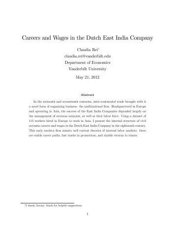 Careers and Wages in the Dutch East India Company