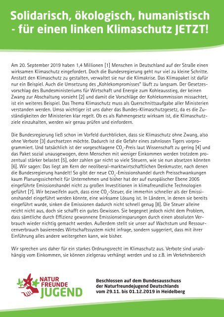 Solidarisch, ökologisch, humanistisch - für einen linken Klimaschutz JETZT!