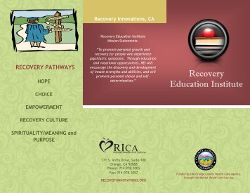 Recovery Education Institute Brochure - Health Care Agency Services