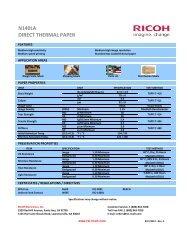 N140LA DIRECT THERMAL PAPER - Ricoh Electronics, Inc