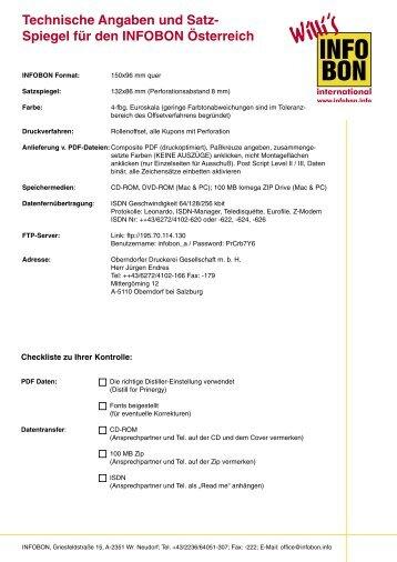 Technische Angaben und Satz- Spiegel für den INFOBON Österreich