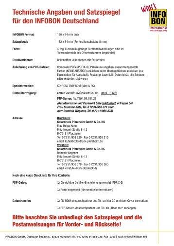 Technische Angaben und Satzspiegel für den INFOBON Deutschland
