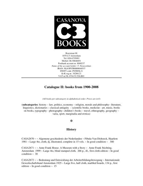 Catalogue Ii Books From 1900 2008 Casanova Books