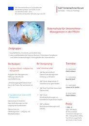 Seminar Datenschutz für Unternehmer - Management in der Pflicht