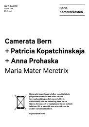 2019 12 11 Camerata Bern + Patricia Kopatchinskaja + Anna Prohaska