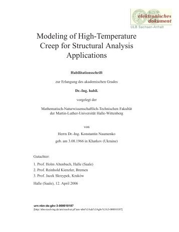 Modeling of High-Temperature Creep for Structural Analysis ...